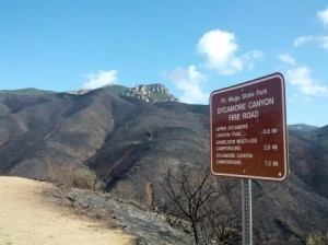 At least the metal trail signs didn't burn in the recent fire that swept through Point Mugu State Park! Please stay on the trail to help the native flora make a fast recovery. (photo courtesy NPS)
