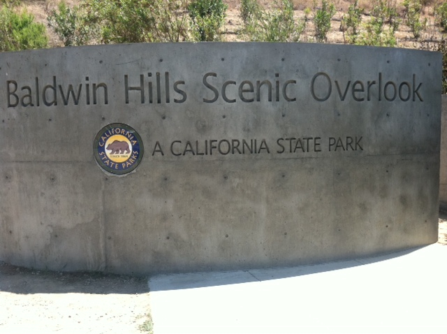 You can't miss the trailhead and entry to Baldwin Hills Overlook State Park.
