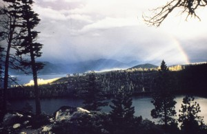A Sierra storm, then a rainbow over Emerald Bay. (courtesy California State Parks)