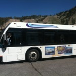 In the summer, visitors take the shuttle bus to Devil's Postpile.