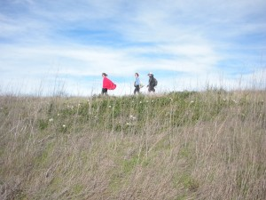 Hiking coastal prairie on Santa Cruz Island.