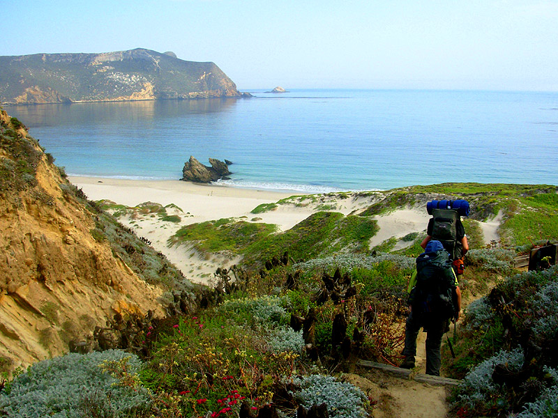 Hiking down to Cuyler campground on San Miguel Island. (Todd Clark)