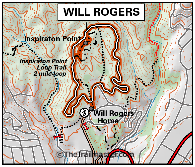 Will Rogers State National Park Map by TomHarrisonMaps.com (click to enlarge)