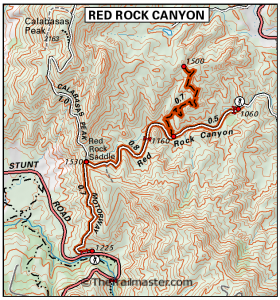 Calabasas Peak and Red Rock Canyon Map by TomHarrisonMaps.com (click to enlarge)