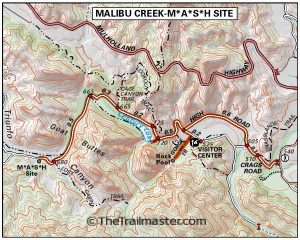 Malibu Creek State Park Map by TomHarrisonMaps.com (click to enlarge)