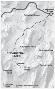 Cathedral Lakes Map by TomHarrisonMaps.com (click to enlarge)