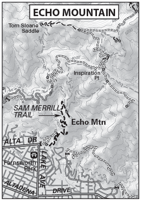 Echo Mountain Map by TomHarrisonMaps.com (click to enlarge)