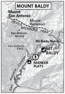 Mount Baldy Map by TomHarrisonMaps.com (click to enlarge)