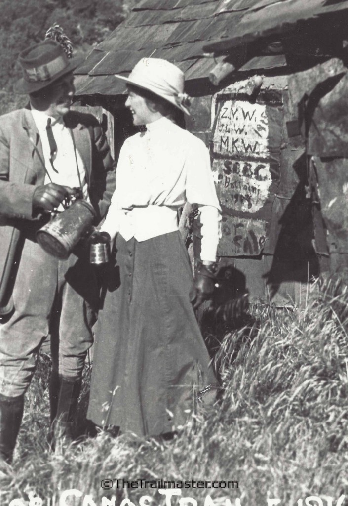 Let's have coffee! These happy hikers visited Tin Can Shack in Rattlesnake Canyon in 1916.