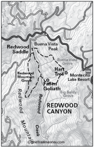 Redwood Canyon Map by TomHarrisonMaps.com (click to enlarge)