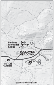 Tuolumne Meadows Map by TomHarrisonMaps.com (click to enlarge)