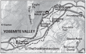 Yosemite Valley Loop Map by TomHarrisonMaps.com (click to enlarge)