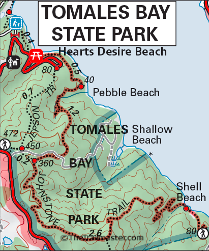 Point Reyes: Tomales Bay State Park by TomHarrisonMaps.com (click to enlarge)