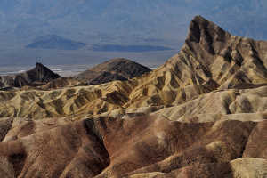 For a wonderful view, hike to Zabriskie Point in Death Valley National Park at sunrise during the cooler months of the year.