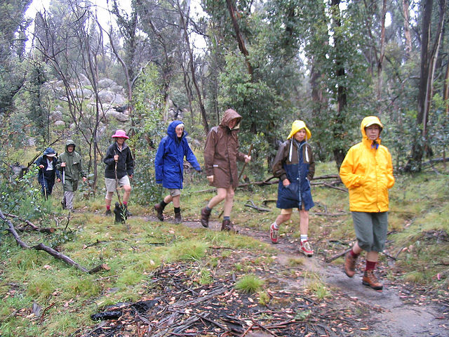 Hiking in the rain is fun--really!  These hikers in Australia's Kosciuszko National Park aren't exactly jumping for joy.