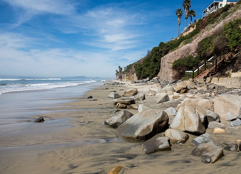 The beach below Leucadia is best walked at low tide.