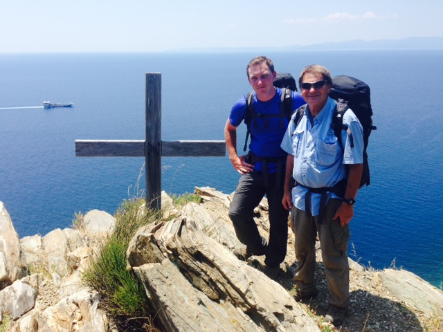 Trailmaster John McKinney and his son Daniel. You're never more than a few miles from the sea when hiking around the Mt. Athos.