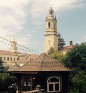 An odd angle on Mission Santa Barbara and 2 more towers--the kind of view you get from a walk off-the-beaten path.