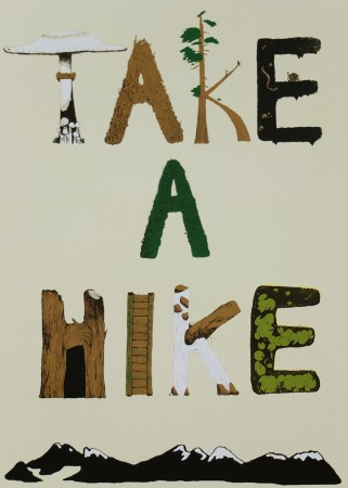 "Colorful ""Take a Hike"" poster designed by Danielle Magee from the happy hikers at VancouverTrails.com"