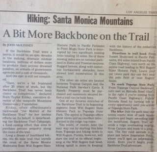 Trailmaster John McKinney wrote more than 20 stories about the Backbone Trail during his long tenure as the Los Angeles Times hiking columnist.