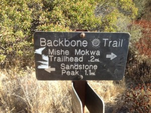 Backbone Trail Sign points the way to Sandstone Peak, highest summit in the Santa Monica Mountains