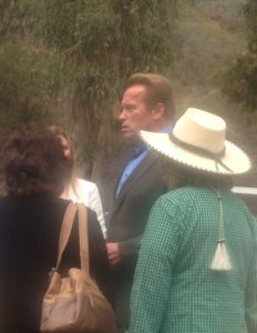 Movie star, former California Governor and donator of land in the Santa Monica Mountains Arnold Schwarzenegger showed up to celebrate completion of the Backbone Trail