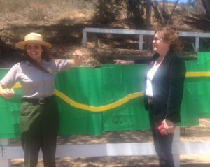Ruth Kilday(R), longtime advocate for the Backbone Trail with Melanie Beck, NPS Outdoor Recreation Planner, who created a 50-foot long display to illustrate the pathway's long, piece-by-piece acquisition.